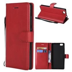 Retro Greek Classic Smooth PU Leather Wallet Phone Case for Huawei P8 Lite P8lite - Red