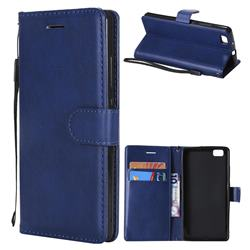 Retro Greek Classic Smooth PU Leather Wallet Phone Case for Huawei P8 Lite P8lite - Blue