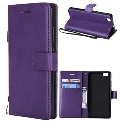 Retro Greek Classic Smooth PU Leather Wallet Phone Case for Huawei P8 Lite P8lite - Purple