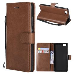 Retro Greek Classic Smooth PU Leather Wallet Phone Case for Huawei P8 Lite P8lite - Brown