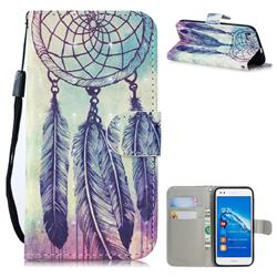Feather Wind Chimes 3D Painted Leather Wallet Phone Case for Huawei P8 Lite P8lite