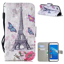 Paris Tower 3D Painted Leather Wallet Phone Case for Huawei P8 Lite P8lite