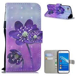 Purple Flower 3D Painted Leather Wallet Phone Case for Huawei P8 Lite P8lite