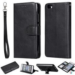 Retro Greek Detachable Magnetic PU Leather Wallet Phone Case for Huawei P8 Lite P8lite - Black