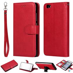 Retro Greek Detachable Magnetic PU Leather Wallet Phone Case for Huawei P8 Lite P8lite - Red