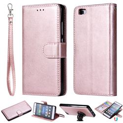 Retro Greek Detachable Magnetic PU Leather Wallet Phone Case for Huawei P8 Lite P8lite - Rose Gold
