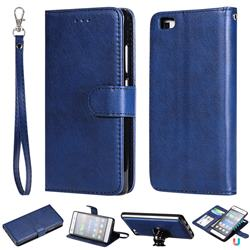 Retro Greek Detachable Magnetic PU Leather Wallet Phone Case for Huawei P8 Lite P8lite - Blue