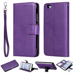 Retro Greek Detachable Magnetic PU Leather Wallet Phone Case for Huawei P8 Lite P8lite - Purple