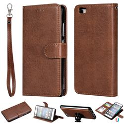 Retro Greek Detachable Magnetic PU Leather Wallet Phone Case for Huawei P8 Lite P8lite - Brown