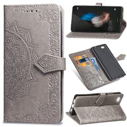 Embossing Imprint Mandala Flower Leather Wallet Case for Huawei P8 Lite P8lite - Gray