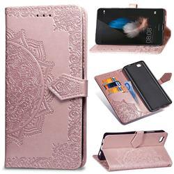 Embossing Imprint Mandala Flower Leather Wallet Case for Huawei P8 Lite P8lite - Rose Gold