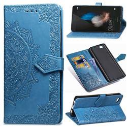 Embossing Imprint Mandala Flower Leather Wallet Case for Huawei P8 Lite P8lite - Blue