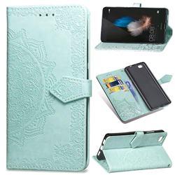 Embossing Imprint Mandala Flower Leather Wallet Case for Huawei P8 Lite P8lite - Green
