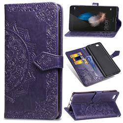 Embossing Imprint Mandala Flower Leather Wallet Case for Huawei P8 Lite P8lite - Purple