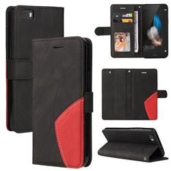 Luxury Two-color Stitching Leather Wallet Case Cover for Huawei P8 Lite P8lite - Black