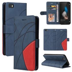 Luxury Two-color Stitching Leather Wallet Case Cover for Huawei P8 Lite P8lite - Blue