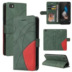 Luxury Two-color Stitching Leather Wallet Case Cover for Huawei P8 Lite P8lite - Green