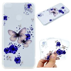 Blue Butterfly Flowers Super Clear Soft TPU Back Cover for Huawei P8 Lite 2017 / P9 Honor 8 Nova Lite