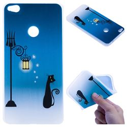 Street Light Cat 3D Relief Matte Soft TPU Back Cover for Huawei P8 Lite 2017 / P9 Honor 8 Nova Lite