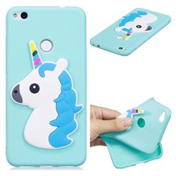Blue Hair Unicorn Soft 3D Silicone Case for Huawei P8 Lite 2017 / P9 Honor 8 Nova Lite
