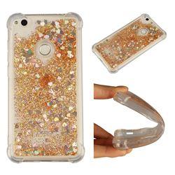 Dynamic Liquid Glitter Sand Quicksand Star TPU Case for Huawei P8 Lite 2017 / P9 Honor 8 Nova Lite - Diamond Gold