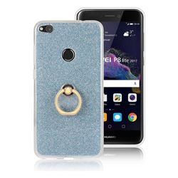 Luxury Soft TPU Glitter Back Ring Cover with 360 Rotate Finger Holder Buckle for Huawei P8 Lite 2017 / P9 Honor 8 Nova Lite - Blue