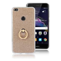 Luxury Soft TPU Glitter Back Ring Cover with 360 Rotate Finger Holder Buckle for Huawei P8 Lite 2017 / P9 Honor 8 Nova Lite - Golden