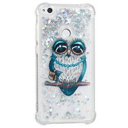 Sweet Gray Owl Dynamic Liquid Glitter Sand Quicksand Star TPU Case for Huawei P8 Lite 2017 / P9 Honor 8 Nova Lite