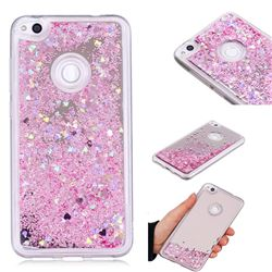 Glitter Sand Mirror Quicksand Dynamic Liquid Star TPU Case for Huawei P8 Lite 2017 / P9 Honor 8 Nova Lite - Cherry Pink