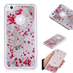 Glitter Sand Mirror Quicksand Dynamic Liquid Star TPU Case for Huawei P8 Lite 2017 / P9 Honor 8 Nova Lite - Red