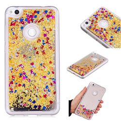 Glitter Sand Mirror Quicksand Dynamic Liquid Star TPU Case for Huawei P8 Lite 2017 / P9 Honor 8 Nova Lite - Yellow