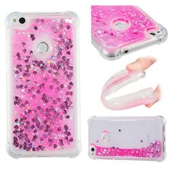 Dynamic Liquid Glitter Sand Quicksand TPU Case for Huawei P8 Lite 2017 / P9 Honor 8 Nova Lite - Pink Love Heart
