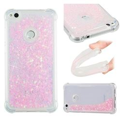 Dynamic Liquid Glitter Sand Quicksand TPU Case for Huawei P8 Lite 2017 / P9 Honor 8 Nova Lite - Silver Powder Star