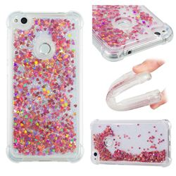 Dynamic Liquid Glitter Sand Quicksand TPU Case for Huawei P8 Lite 2017 / P9 Honor 8 Nova Lite - Rose Gold Love Heart