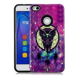 Starry Campanula Owl Pattern 2 in 1 PC + TPU Glossy Embossed Back Cover for Huawei P8 Lite 2017 / P9 Honor 8 Nova Lite