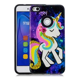 Rainbow Horse Pattern 2 in 1 PC + TPU Glossy Embossed Back Cover for Huawei P8 Lite 2017 / P9 Honor 8 Nova Lite