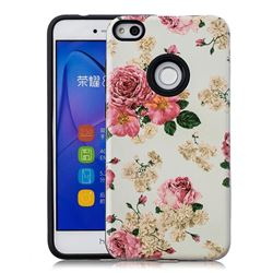 Rose Flower Pattern 2 in 1 PC + TPU Glossy Embossed Back Cover for Huawei P8 Lite 2017 / P9 Honor 8 Nova Lite