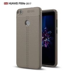 Luxury Auto Focus Litchi Texture Silicone TPU Back Cover for Huawei P8 Lite 2017 / P9 Honor 8 Nova Lite - Gray
