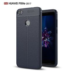 Luxury Auto Focus Litchi Texture Silicone TPU Back Cover for Huawei P8 Lite 2017 / P9 Honor 8 Nova Lite - Dark Blue