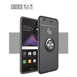 Auto Focus Invisible Ring Holder Soft Phone Case for Huawei P8 Lite 2017 / P9 Honor 8 Nova Lite - Black