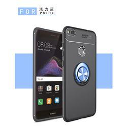 Auto Focus Invisible Ring Holder Soft Phone Case for Huawei P8 Lite 2017 / P9 Honor 8 Nova Lite - Black Blue