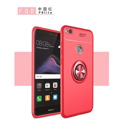 Auto Focus Invisible Ring Holder Soft Phone Case for Huawei P8 Lite 2017 / P9 Honor 8 Nova Lite - Red