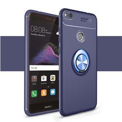 Auto Focus Invisible Ring Holder Soft Phone Case for Huawei P8 Lite 2017 / P9 Honor 8 Nova Lite - Blue