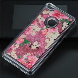 Rose Flower Glassy Glitter Quicksand Dynamic Liquid Soft Phone Case for Huawei P8 Lite 2017 / P9 Honor 8 Nova Lite