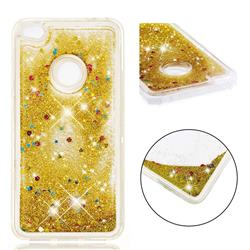 Dynamic Liquid Glitter Quicksand Sequins TPU Phone Case for Huawei P8 Lite 2017 / P9 Honor 8 Nova Lite - Golden