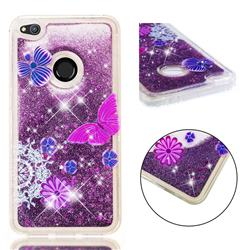 Purple Flower Butterfly Dynamic Liquid Glitter Quicksand Soft TPU Case for Huawei P8 Lite 2017 / P9 Honor 8 Nova Lite