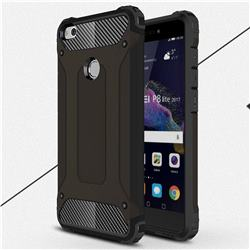 King Kong Armor Premium Shockproof Dual Layer Rugged Hard Cover for Huawei P8 Lite 2017 / P9 Honor 8 Nova Lite - Black Gold