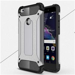 King Kong Armor Premium Shockproof Dual Layer Rugged Hard Cover for Huawei P8 Lite 2017 / P9 Honor 8 Nova Lite - Silver Grey