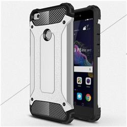 King Kong Armor Premium Shockproof Dual Layer Rugged Hard Cover for Huawei P8 Lite 2017 / P9 Honor 8 Nova Lite - Technology Silver