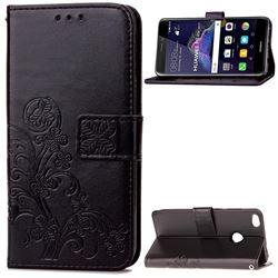 Embossing Imprint Four-Leaf Clover Leather Wallet Case for Huawei P8 Lite 2017 / Honor 8 Lite / Nova Lite / P9 Lite 2017 - Black